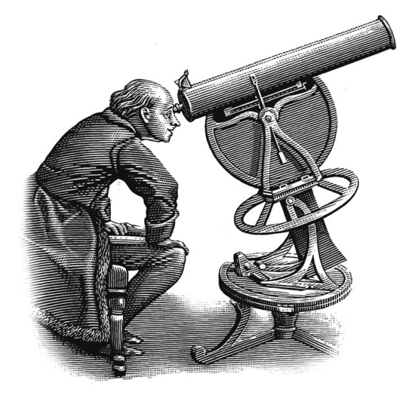 man looking at telescope