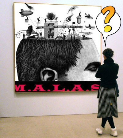 woman with questions in art                             gallery