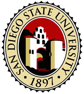 San Diego                   State University main site link via logo